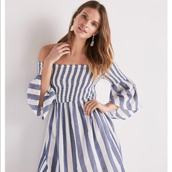 ccc31ca364 Lucky Brand Striped Smock Off Shoulder Dress